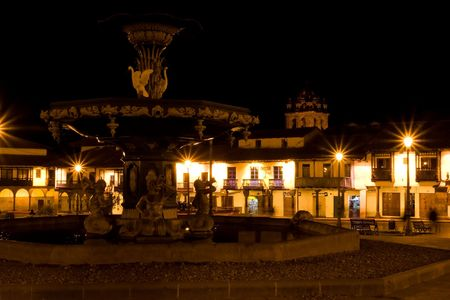 andes mountain: Main square in Cusco, a city in southeastern Peru, near the Urubamba Valley (Sacred Valley) of the Andes mountain range. Stock Photo