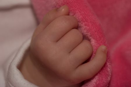 LIttle hand of month old caucasian girl. photo