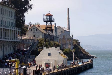 The Rock, is a small island located in the middle of San Francisco Bay in California, United States. It served as a lighthouse, then a military fortification, then a military prison followed by a federal prison until 1963. Stock Photo - 3542523