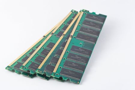 DIMM, or dual in-line memory module, comprises a series of dynamic random access memory integrated circuits. Stock Photo - 3861862