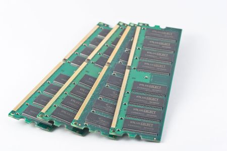 DIMM, or dual in-line memory module, comprises a series of dynamic random access memory integrated circuits. Stock Photo - 3881330