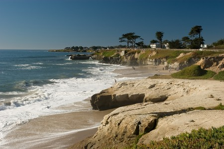 Pacific coast beach in Santa Cruz, California Stock Photo