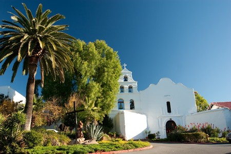 Mission San Diego de Alcal�, also known as the San Diego Mission Church, was founded on July 16, 1769, the first in the twenty-one Alta California mission chain established by Father Presidente Jun�pero Serra photo