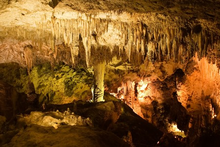 Carlsbad Caverns National Park is a United States National Park located in the Guadalupe Mountains in southeastern New Mexico. The primary attraction of the park for most visitors is the show cave, Carlsbad Caverns.