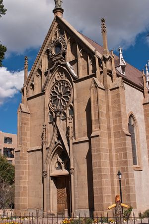 francis: Cathedral Basilica of Saint Francis of Assisi, commonly known as Saint Francis Cathedral, is a Roman Catholic cathedral in downtown Santa Fe, New Mexico. It is the mother church of the Archdiocese of Santa Fe. Stock Photo