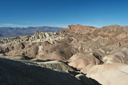 Zabriskie Point is a part of Amargosa Range located in Death Valley National Park in the United States noted for its erosional landscape. Stock fotó - 4680045
