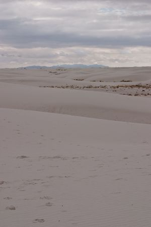 White Sands National Monument is a U.S. National Monument located about 25 km (15 miles) southwest of Alamogordo in western Otero County and northeastern Dona Ana County in the state of New Mexico Stock Photo - 4741777