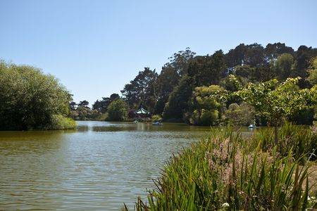 stow: Stow Lake surrounds the prominent Strawberry Hill, now an island with an electrically pumped waterfall.