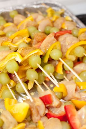 Kebab refers to a variety of meat dishes in Persian Turkish, Caucasian, Central Asian, South Asian and some of the African cuisines, consisting of grilled or broiled meats on a skewer or stick. Stock Photo - 5346878