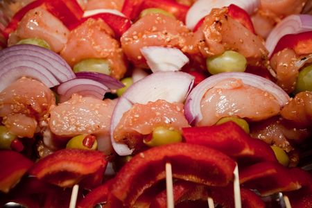 Kebab refers to a variety of meat dishes in Persian Turkish, Caucasian, Central Asian, South Asian and some of the African cuisines, consisting of grilled or broiled meats on a skewer or stick. Stock Photo - 5826727