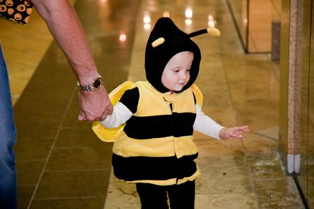 Trick-or-treating is a custom for children on Halloween. Children proceed in costume from house to house, asking for treats such as candy, or sometimes money, with the question, Trick or treat?