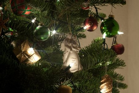 The Christmas tree is a decorated evergreen coniferous tree, real or artificial, and a popular tradition associated with the celebration of Christmas. Zdjęcie Seryjne
