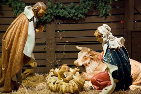 gospels: A nativity scene, cr�che, or crib, is a depiction of the birth of Jesus as described in the gospels of Matthew and Luke. Stock Photo