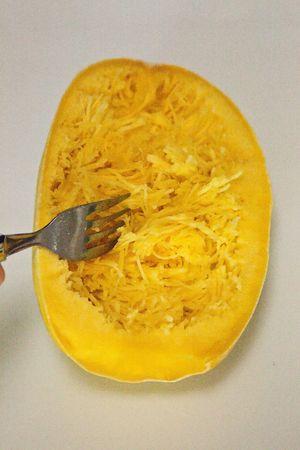 The spaghetti squash (Cucurbita pepo) (also called vegetable spaghetti, noodle squash, spaghetti marrow (in the UK), squaghetti , gold string melon or fish fin melon.
