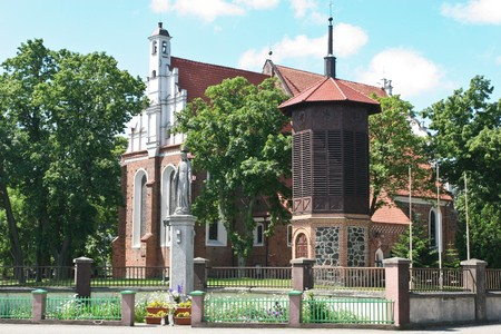 polska monument: The St. Jacobs parish church in Wągrowiec was recorded as early as 1381. The construction, now situated in this location, started at the beginning of the 16th century. It is an example of the late-Gothic structure made of Polish style bricks with the ea