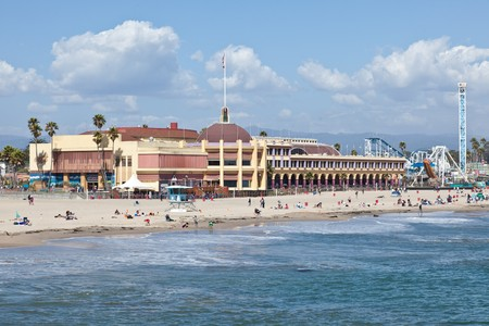 Pacific Ocean coast and beach near boardwalk in Santa Cruz, California