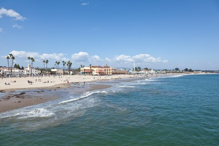Pacific Ocean coast and beach near boardwalk in Santa Cruz, California photo
