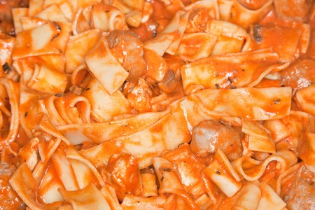 ケイジャン チキン Strogonoff 良い味があります。それは鶏、パスタとトマトのサルサ混合からその味を取得します。 写真素材 - 8092665