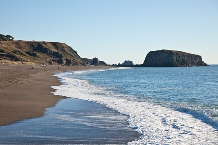 state owned: Goat Rock Beach is a sand beach in northwestern Sonoma County, California, United States. This landform is a sub-unit of Sonoma Coast State Beach, owned and managed by the State of California. Stock Photo