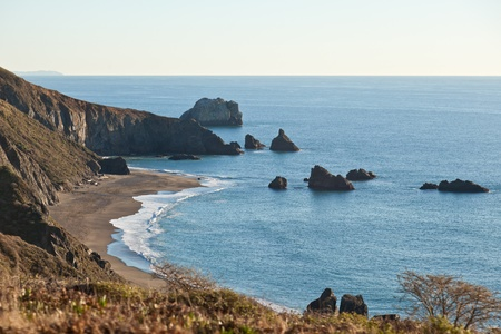 Goat Rock Beach is a sand beach in northwestern Sonoma County, California, United States. This landform is a sub-unit of Sonoma Coast State Beach, owned and managed by the State of California. Stock Photo