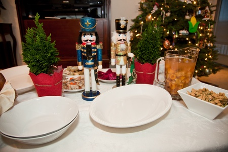 A twelve-dish Christmas Eve supper is traditionally prepared in many Eastern European cultures, uncluding Polish, Lithunian, and Ukrainian Stock Photo