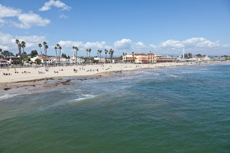 Pacific Ocean coast and beach near boardwalk in Santa Cruz, California photo
