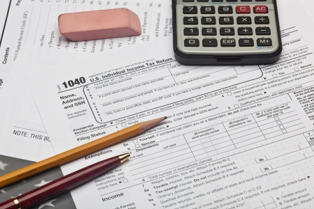 declaration: The Form 1040, U.S. Individual Income Tax Return, is the starting form for personal (individual) Federal income tax returns Stock Photo