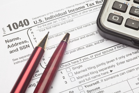 Formulier 1040, Amerikaanse individuele inkomstenbelastingaangifte, is het startformulier voor persoonlijke (individuele) federale inkomstenbelastingaangiften Stockfoto