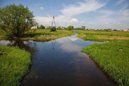 divergence: Welna and Nielba river bifurcation in Wagrowiec, Poland