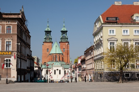 polska monument: Gniezno was the first capital of Poland in the 10th century. Stock Photo