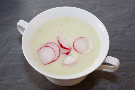 Spicy, creamy, chilled soup with vibrant color and over-the-top flavor. Stock Photo - 10870880