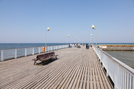 Pier was built in 1937 and is the longest concrete pier in Poland. Stok Fotoğraf