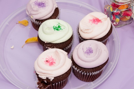 serve one person: Cupcake or fairy cake (the common British term), is a small cake designed to serve one person, frequently baked in a small, thin paper or aluminum cup.