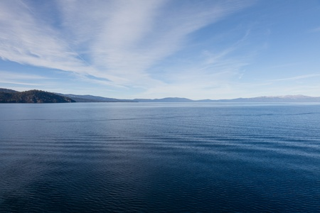 Lake Tahoe is a large freshwater lake in the Sierra Nevada mountains of the United States. photo