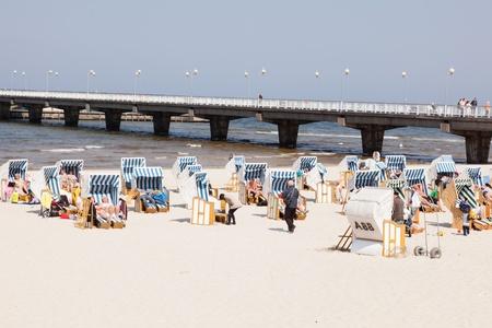 Beach near Pier in Kolobrzeg, Poland