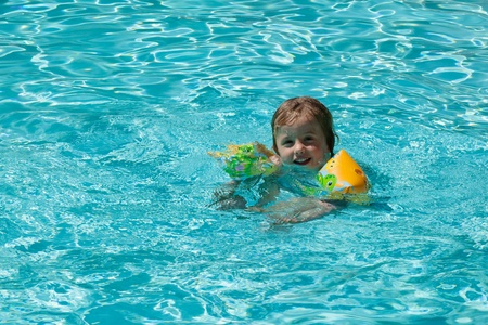 Having fun in water on hot summer day. photo