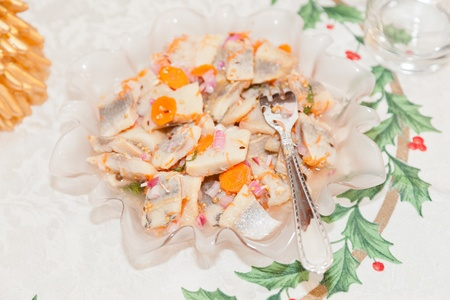 christmas eve: Pickled herring is one of the twelve dishes served on Polish Christmas Eve. Stock Photo
