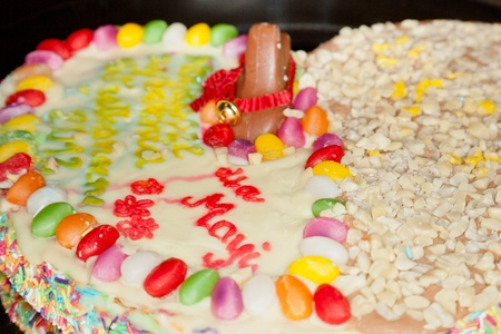 Traditional Polish cake make for Easter with variety of toppings. Mazurek is usually colourfully iced and decorated with jam, nuts and raisins. photo