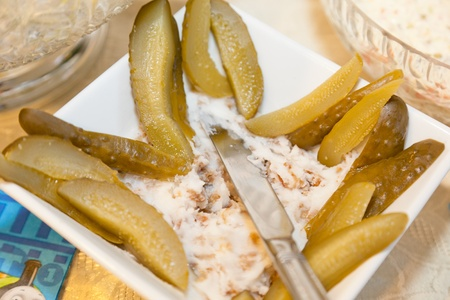 Traditional Polish homemade lard with cracklings and pickles. photo