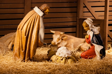 Nativity scene is a depiction of the birth of Jesus as described in the gospels of Matthew and Luke.