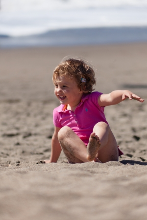 Having fun on the beach on sunny day. photo