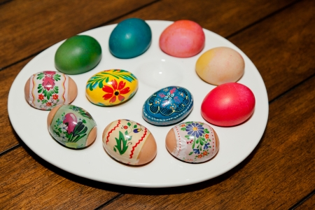 Colorful Dyed Easter Eggs On A While Egg Tray Stock Photo Picture Mesmerizing How To Decorate Egg Tray
