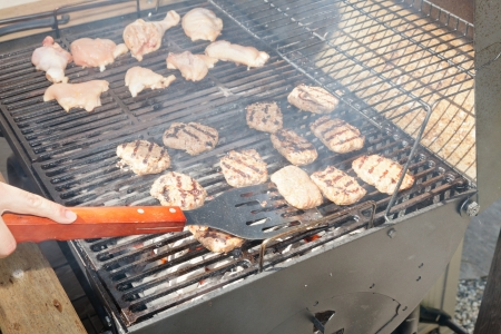 Grilling is a form of cooking that involves dry radiant heat from above or below, and takes place on a grill or griddle. Stock Photo