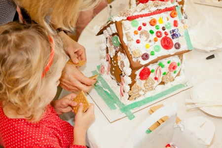 Gingerbread dough is used to build gingerbread houses photo