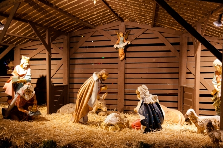Nativity scene is a depiction of the birth of Jesus as described in the gospels of Matthew and Luke. photo