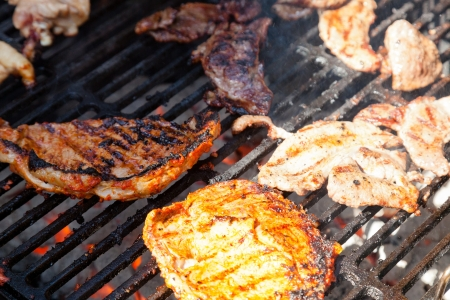 involves: Grilling is a form of cooking that involves dry radiant heat from above or below, and takes place on a grill or griddle. Stock Photo