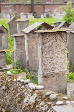 Old Jewish cemetery is located beside the Remuh Synagogue at 40 Szeroka Street in the historic Kazimierz district of Krak Stock Photo - 17497939