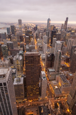 Chicago Skyline from the Signature Lounge in the Hancock Building Stock Photo - 17589631