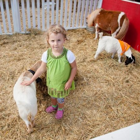 Spelen met dieren in kinderboerderij op een pompoen patch. Stockfoto