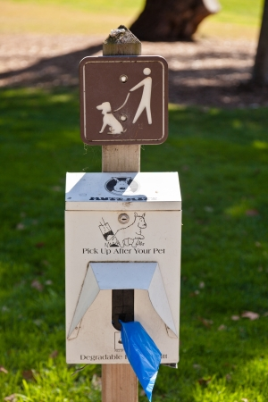 Sign to remind owners to clean up after their dog and not leave a mess behind Stock Photo